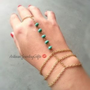 Gold Hand Chain Turquoise Slave Bracelet